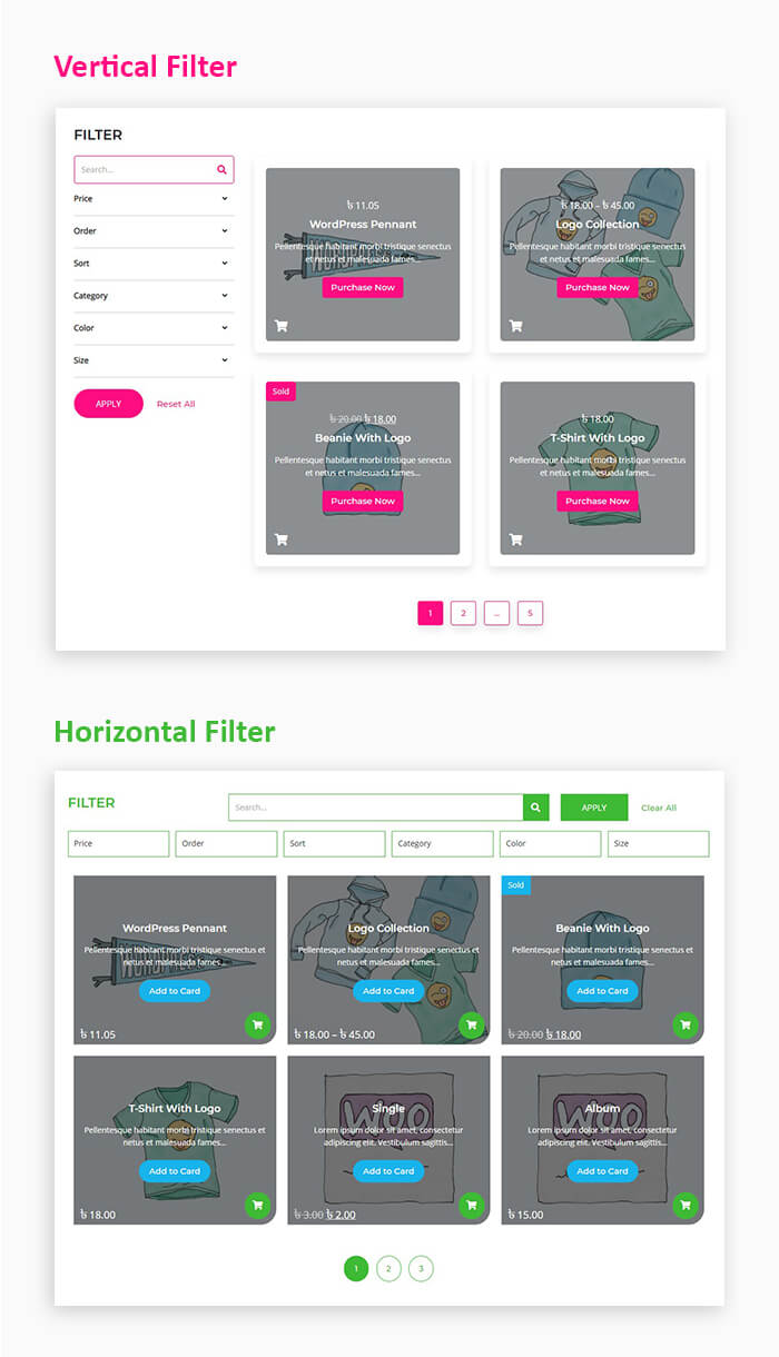 woocommerce products search and filter